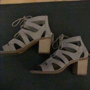 Grey Suede Heeled Sandals